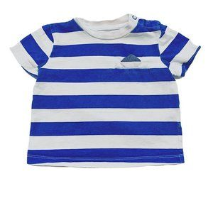 Blue and White Striped Pocket T-Shirt